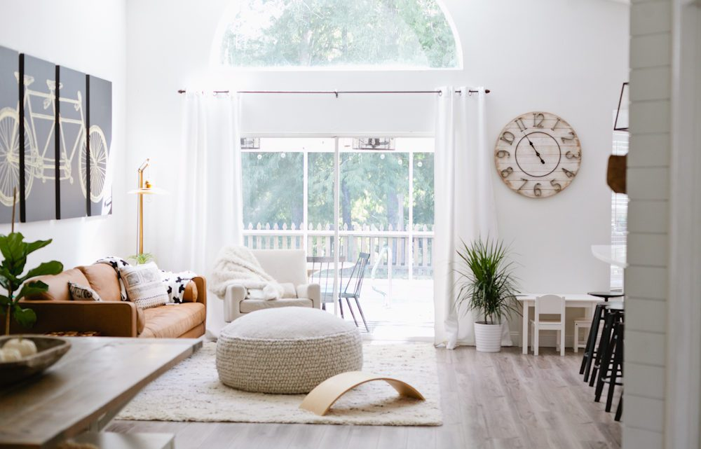   Article sofa featured in the latest living room makeover by top Florida lifestyle blog, Fresh Mommy Blog