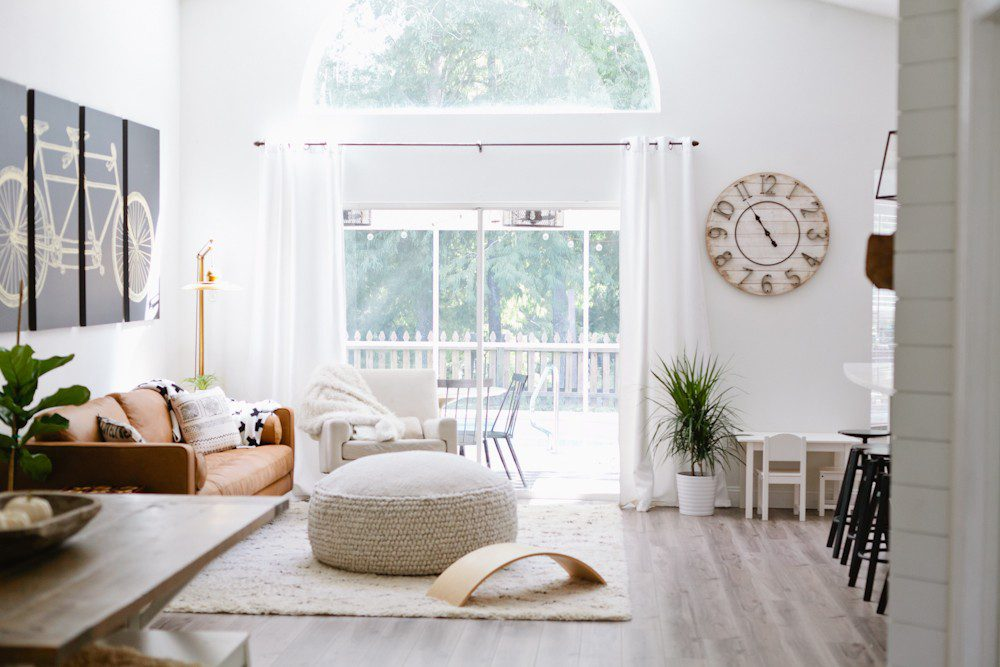| Article sofa featured in the latest living room makeover by top Florida lifestyle blog, Fresh Mommy Blog