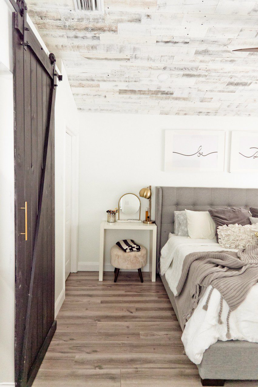How to Install your Own Reclaimed Wood Ceiling - Master Bedroom Update featured by top Florida lifestyle blog, Fresh Mommy Blog: finished reclaimed wood ceiling in master bedroom update