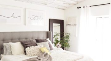 How to Install your Own Reclaimed Wood Ceiling - Master Bedroom Update featured by top Florida lifestyle blog, Fresh Mommy Blog: finished master bedroom