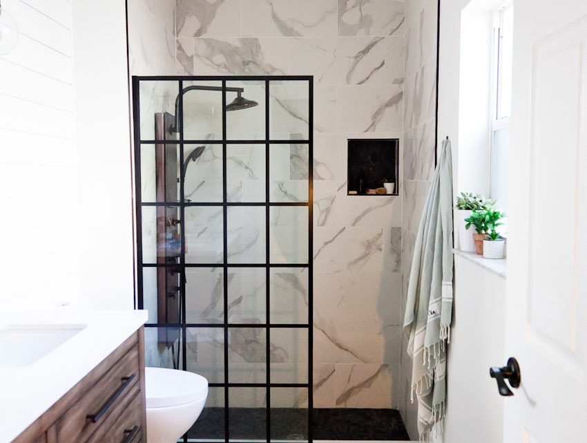 Farmhouse Style Master Bathroom Renovation Ideas: Bold with Black and White Neutrals