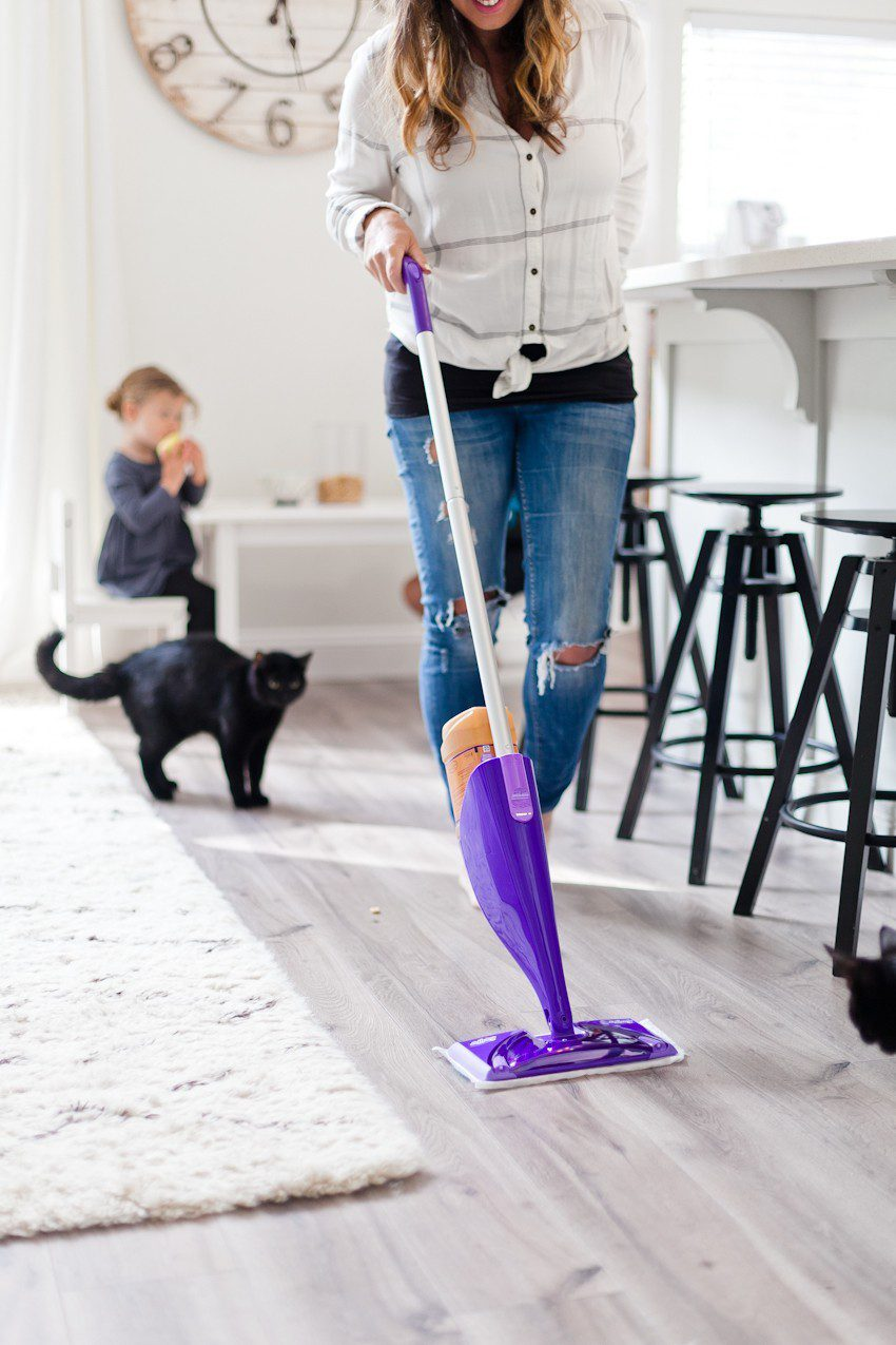 House to Home update: gray wood flooring installation featured by top US DIY blog, Fresh Mommy Blog - how to clean wood floors