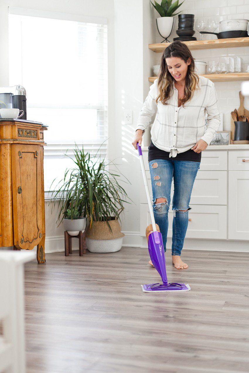 House to Home update: gray wood flooring installation featured by top US DIY blog, Fresh Mommy Blog: how to clean wood floors with Swiffer