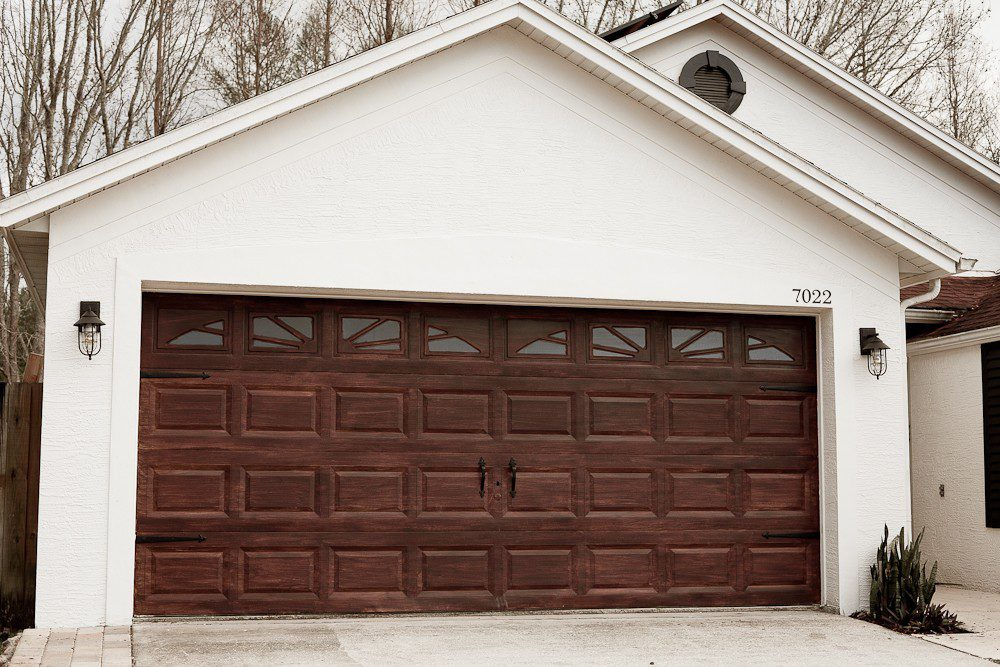 DIY Garage Door Makeover | Gel Stain Garage Door to Look Like Wood