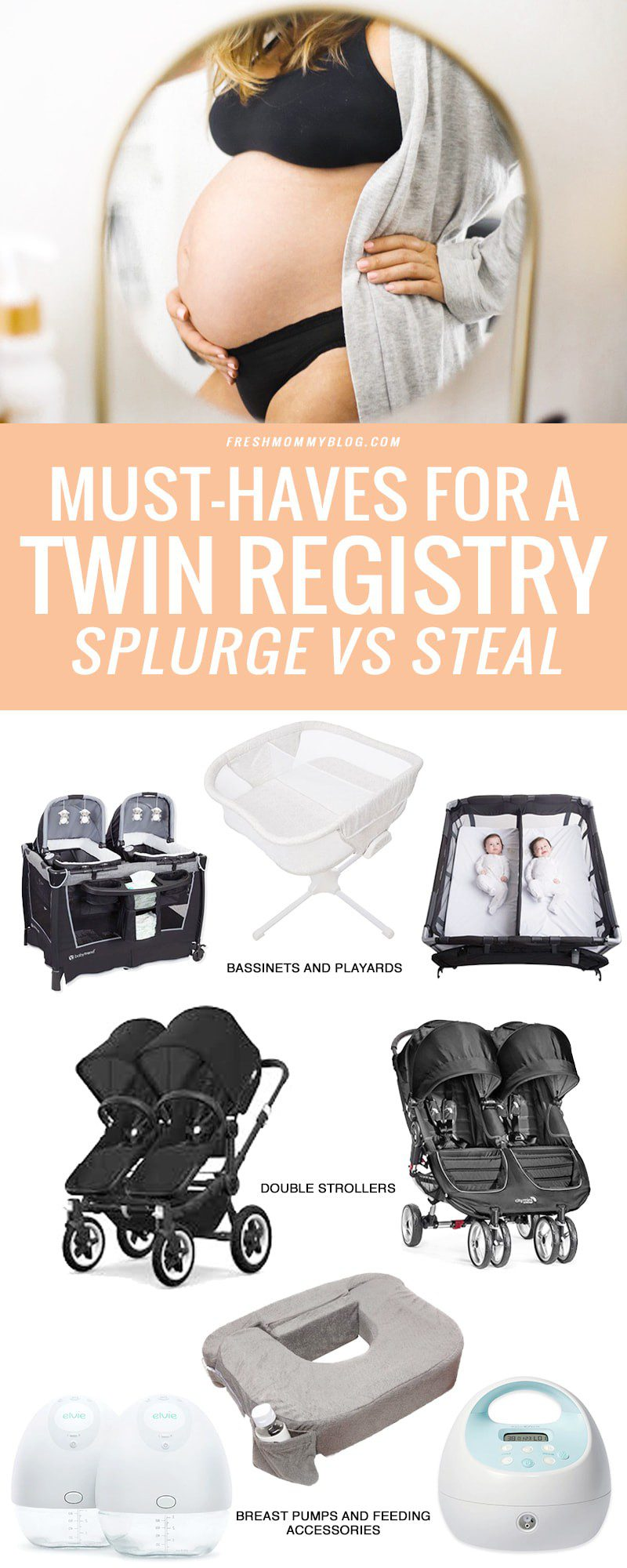 Our Twin Registry Essentials - Splurge vs Steal for bassinet for twins, twin pack n play, twin strollers and more by top US lifestyle blogger, Tabitha Blue of Fresh Mommy Blog