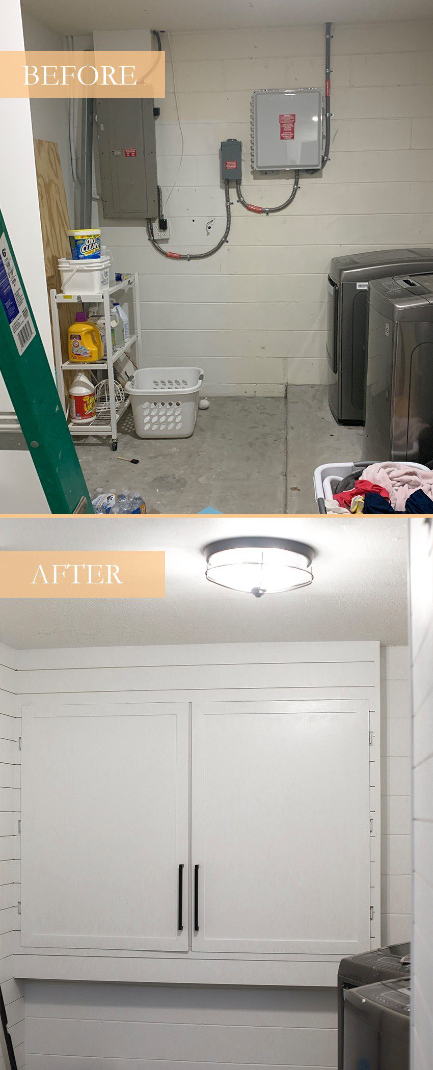DIY for Covering your Breaker Boxes: A Faux Cabinet Tutorial by popular Florida DIY blog, Fresh Mommy: before and after image of a laundry room with exposed utility boxes.