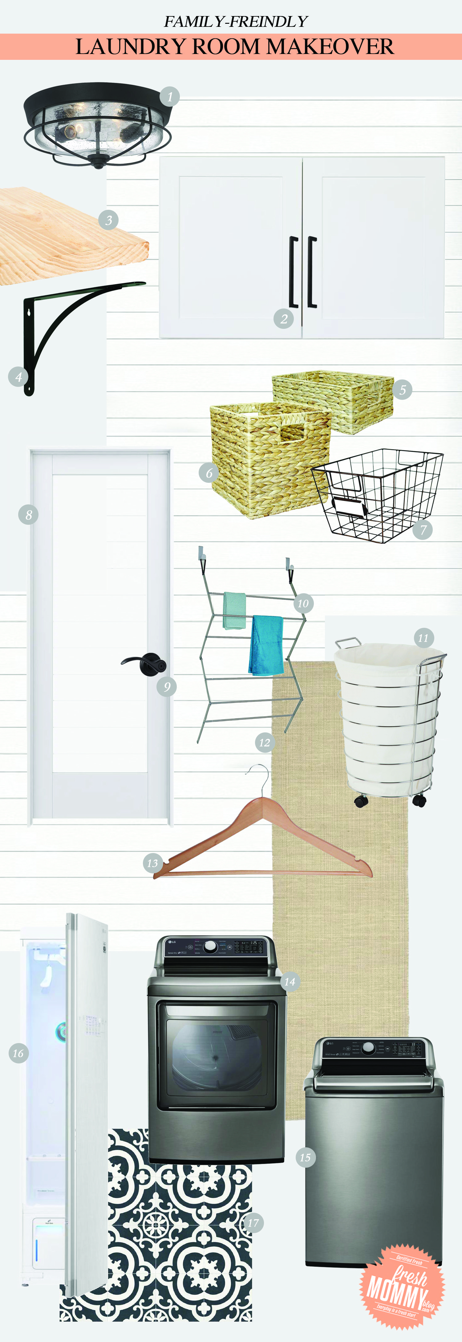 Laundry Room Makeover Ideas! Design plans and ideas for creating a family friendly laundry room by popular Florida lifestyle and home DIY blogger Tabitha Blue of Fresh Mommy Blog | DIY for Covering Breaker Boxes: A Faux Cabinet Tutorial by popular Florida DIY blog, Fresh Mommy: collage image of a light fixture, shelving, frosted glass door, woven baskets, washer and dryer, and laundry basket.