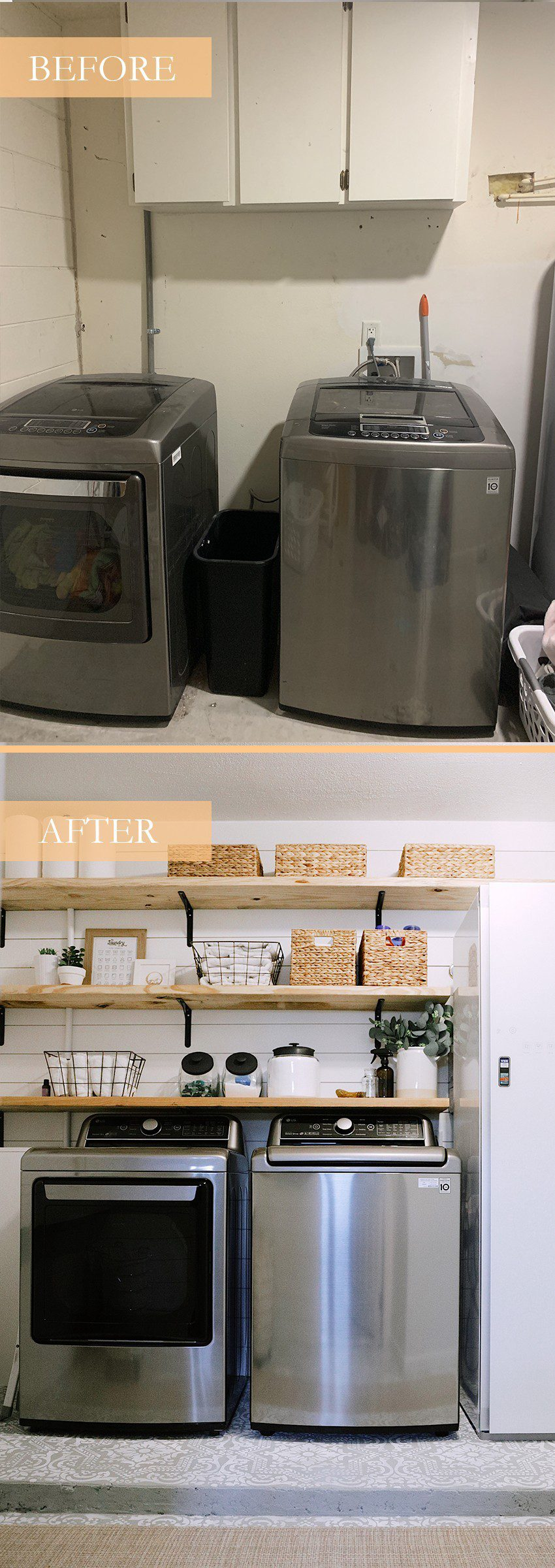 How We Designed a Family Friendly Laundry Room in our Garage - The Reveal! How We Designed a Family Friendly Laundry Room in our Garage - The Reveal! by popular Florida DIY blog, Fresh Mommy: image of a family friendly laundry room.