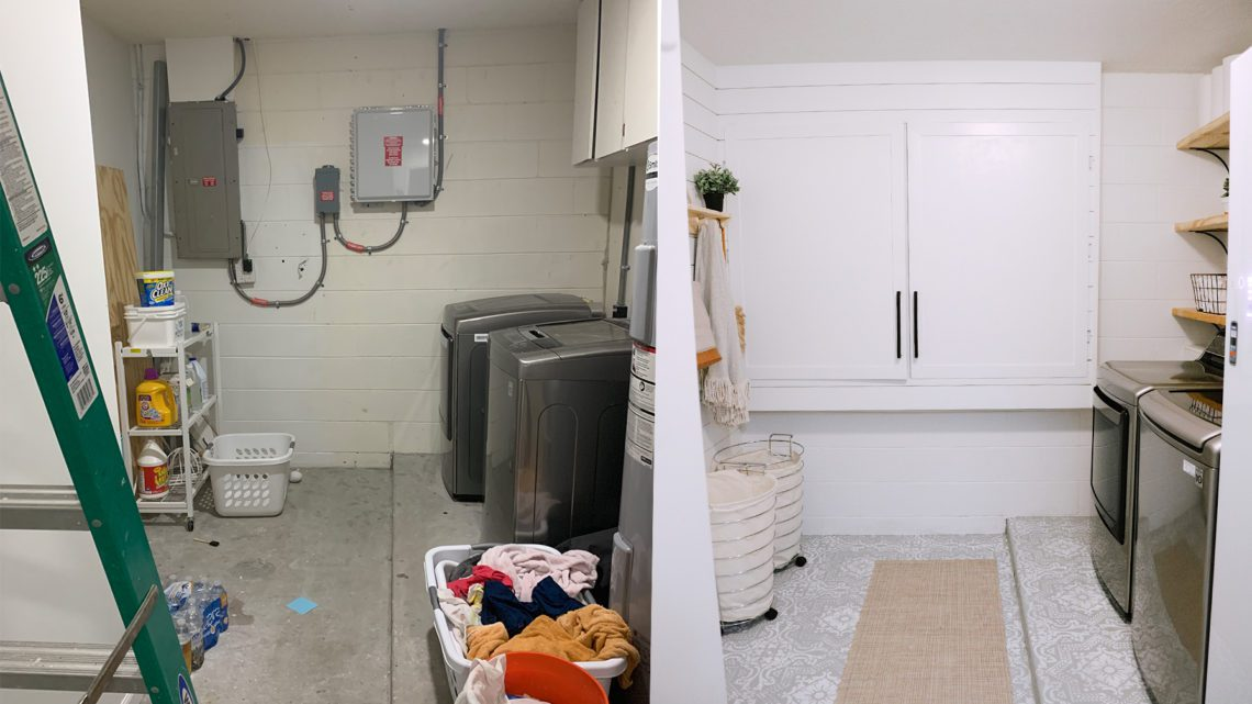 How We Designed a Family Friendly Laundry Room in our Garage - The Reveal!