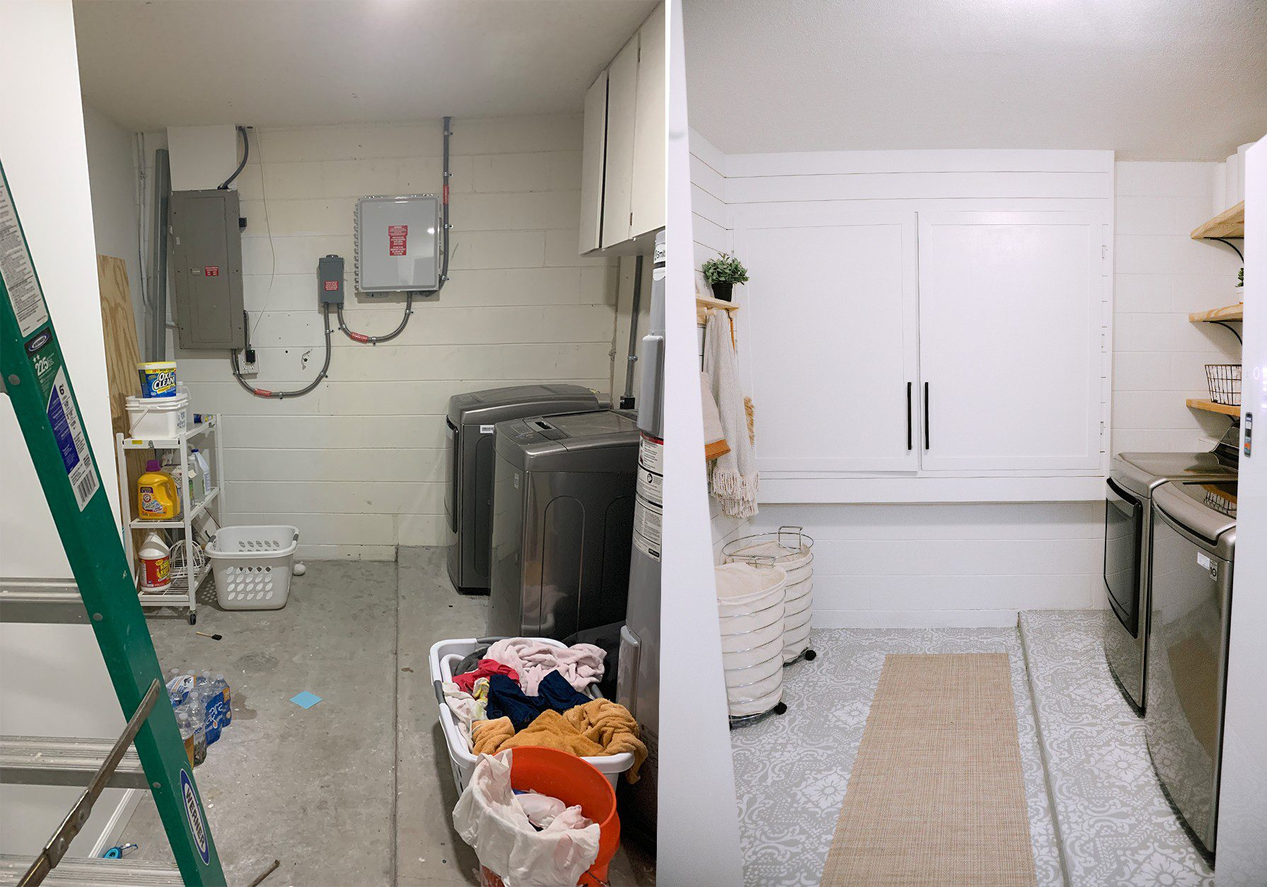 How We Designed a Family Friendly Laundry Room in our Garage - The Reveal! | Laundry Room DIY: How to Paint a Cement Floor with Stencils by popular home decor blog, Fresh Mommy: before and after image of a laundry room remodel.