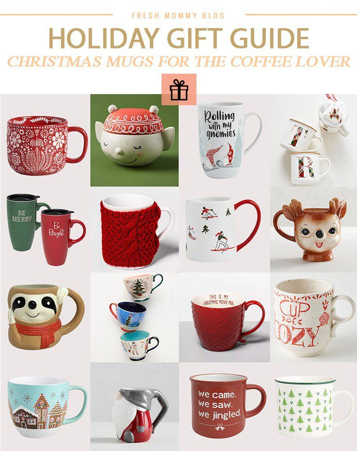Fun and unique Christmas mugs for the coffee or hot chocolate lover! | Holiday Gift Guide: Unique Coffee Mugs for the Coffee Lover by popular Florida life and style blog, Fresh Mommy Blog: collage image of various unique holiday coffee mugs.