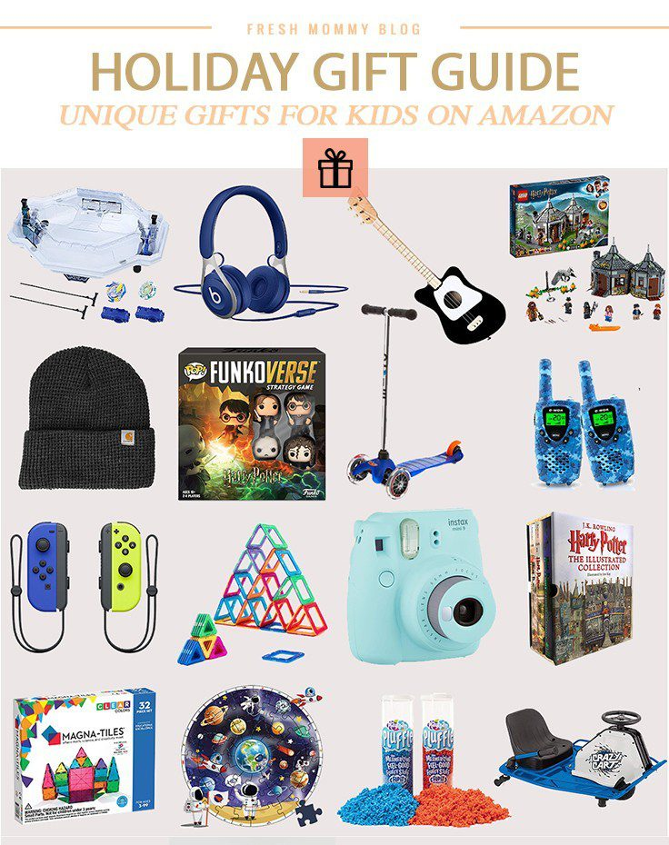 Holiday Gift Guide: Unique Christmas Gifts for Kids on Amazon by popular Florida life and style blog, Fresh Mommy Blog: collage image of Carhartt beanie, Nintendo Switch, Polaroid camera, walkie talkies, Illustrated Harry Potter Book set, Magna Tiles, Razor, and lego set.