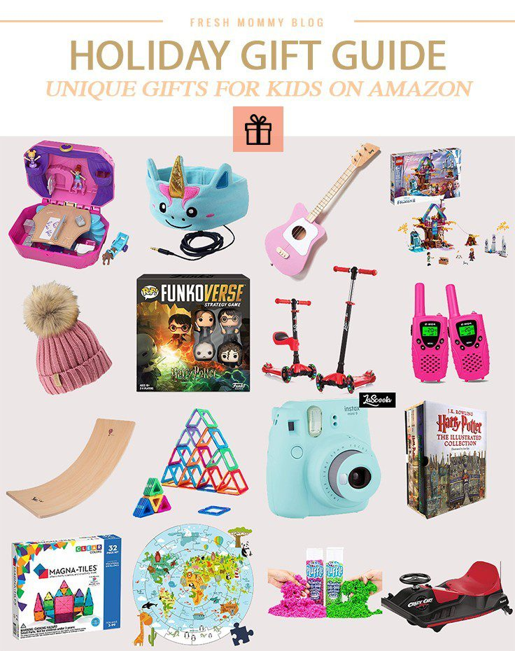 Holiday Gift Guide: Unique Christmas Gifts for Kids on Amazon by popular Florida life and style blog, Fresh Mommy Blog: collage image of pom beanie, magna tiles, Polaroid camera, Illustrated Harry Potter Book set, walkie talkies, lego set, guitar, and FunkoVerse.