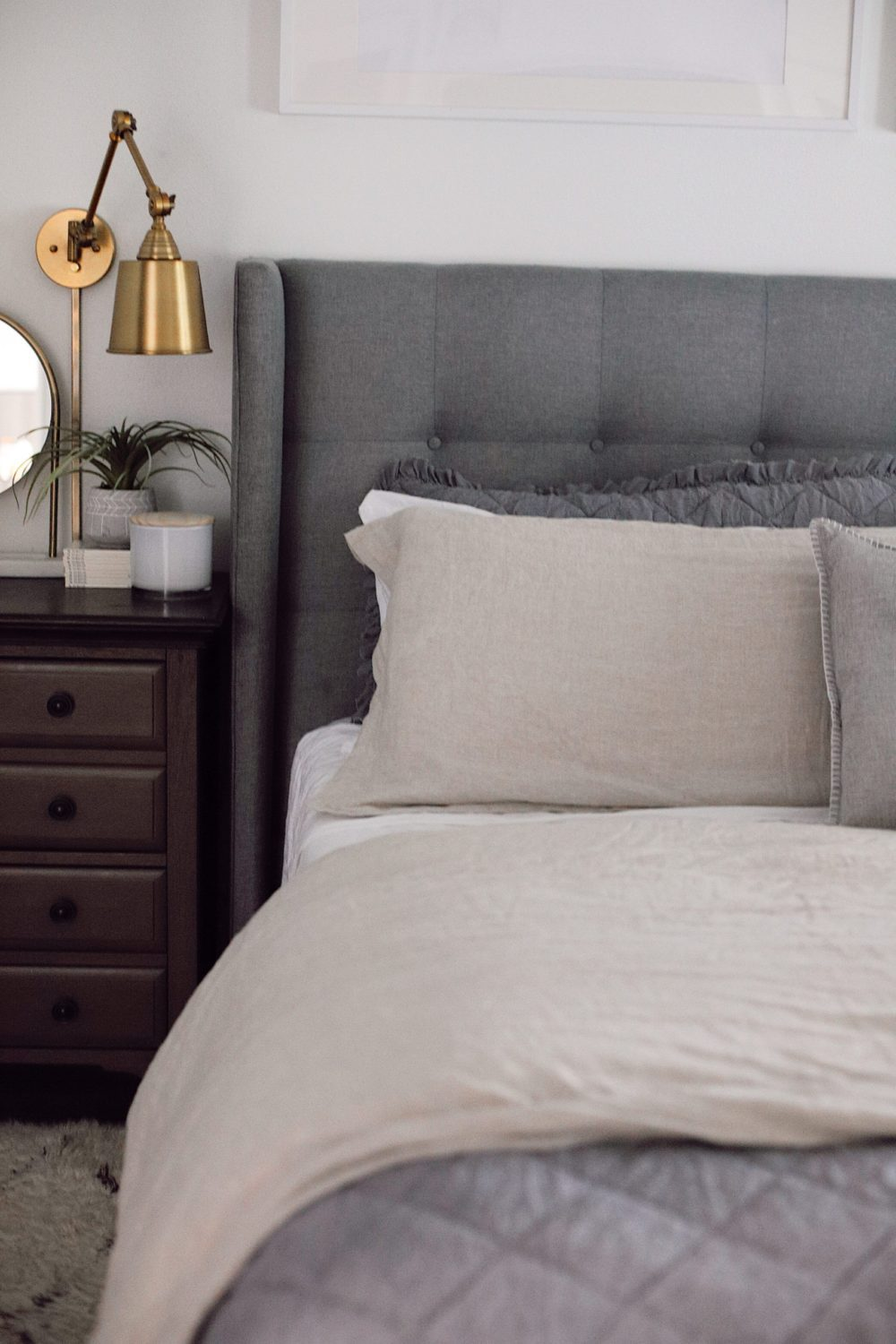 how to Make your Bed Comfortable Like a Hotel in 7 Easy Steps, a tutorial featured by top Florida lifestyle blog, Fresh Mommy Blog. | Best Bedding by popular Florida life and style blog, Fresh Mommy: image of a comfortable bed with an upholstered headboard.