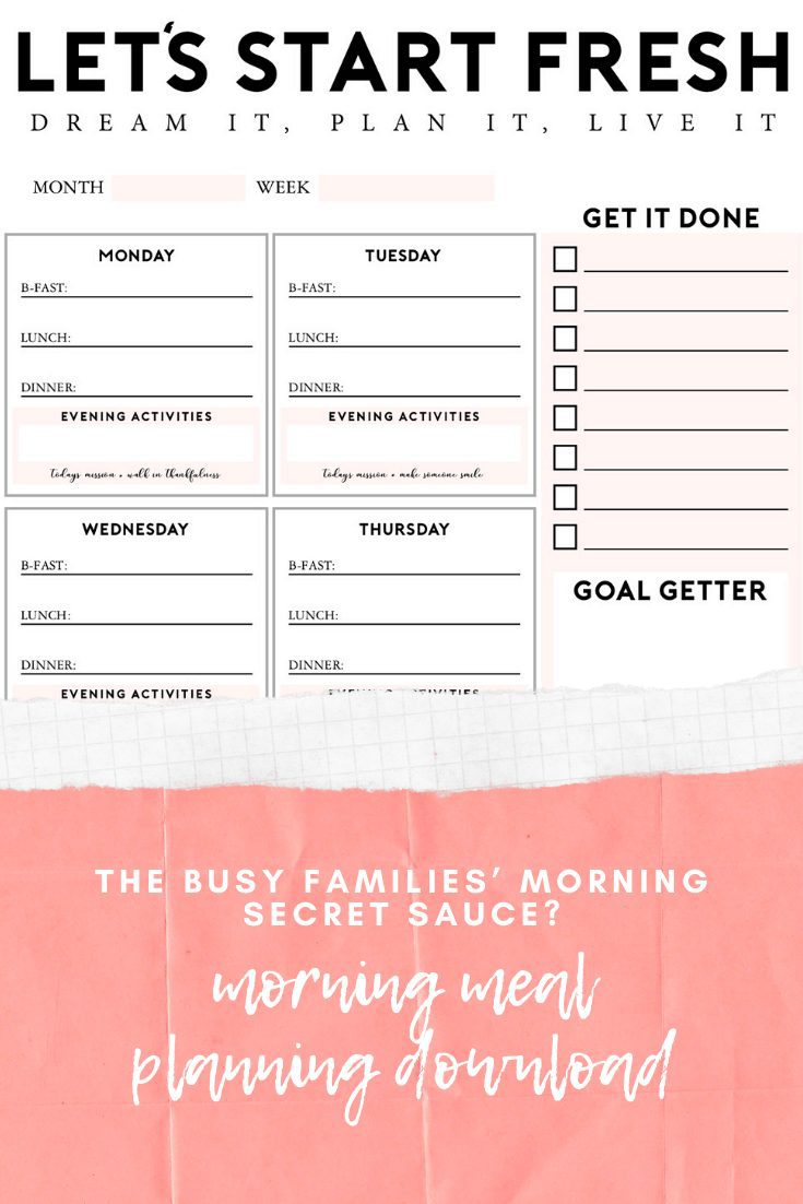 "The ""Let's Start Fresh"" morning meal planning download is the secret sauce to keep mornings running smoothly, especially for any busy family! Download and print and use to keep mornings on track! Help whether kids run out to school or homeschool help. Homeschool ideas from top Florida lifestyle blogger Tabitha Blue of Fresh Mommy Blog."