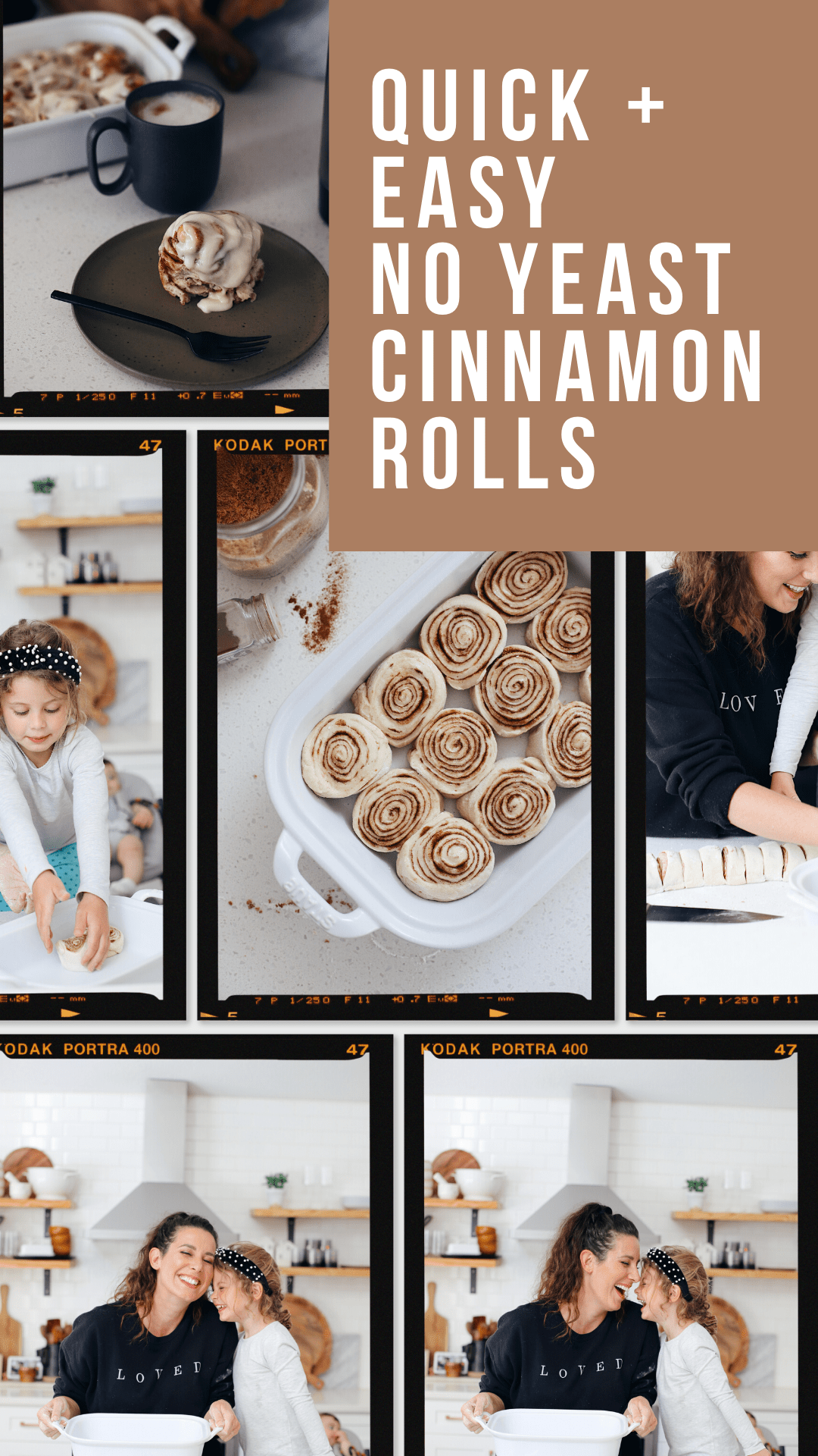 Quick and easy no yeast cinnamon rolls dough. Tips for no buttermilk and buttermilk substitute. NO waiting overnight. Click for the recipe and videos of yeast free cinnamon rolls homemade. Best yeast free cinnamon buns! Rolled with rich and gooey filling, clone of a Cinnabon cream cheese icing, and made without yeast, Homemade Cinnamon Rolls are ready to enjoy in under an hour. | Bread Machine Cinnamon Roll Recipe by popular Florida lifestyle blog, Fresh Mommy Blog: Pinterest image of cinnamon rolls in a white ceramic baking dish next to a bowl of cream cheese icing.