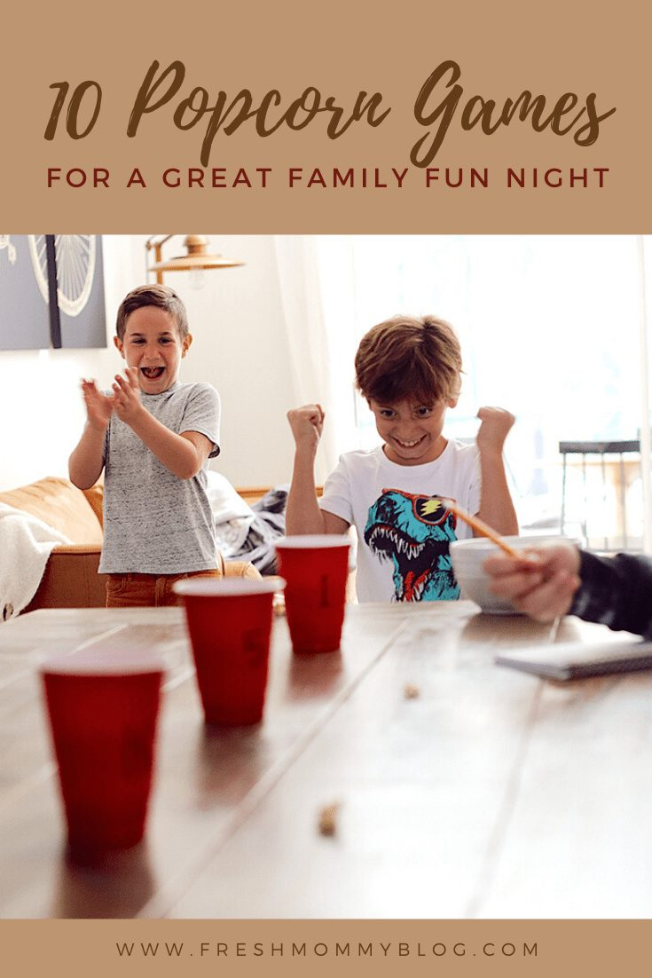 10 Popcorn Games for a Great Family Fun Night | Family Fun Night by popular Florida lifestyle blog, Fresh Mommy Blog: Pinterest image of 10 popcorn games for family fun night.