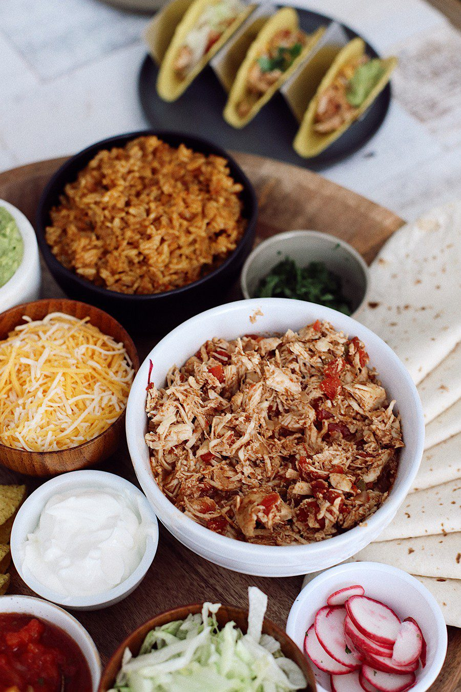 Slow Cooker Chicken Taco Platter | Chicken Tacos by popular Florida lifestyle blog, Fresh Mommy Blog: image of a Chicken Tacos platter.