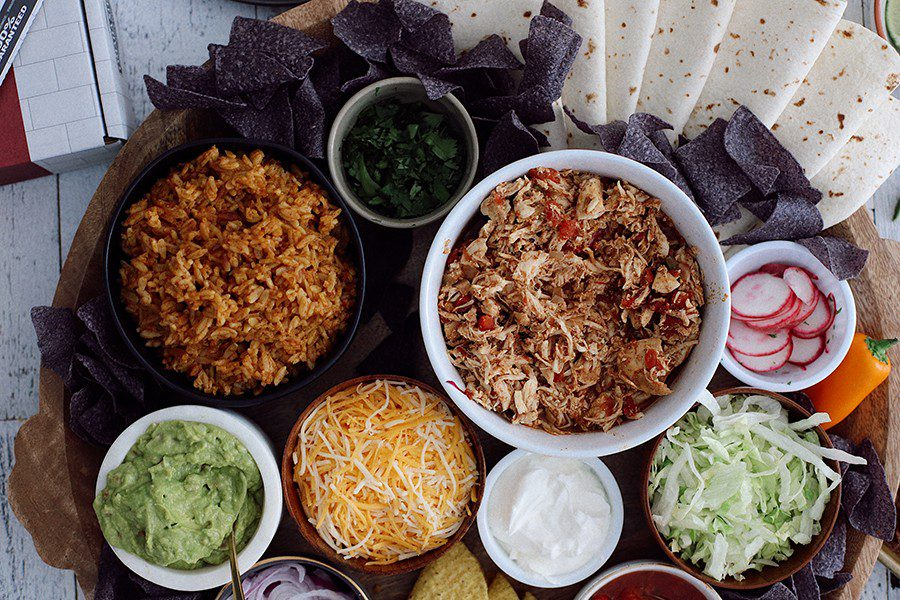 Slow Cooker Chicken Taco Party Platter. A gorgeous Taco Grazing Board!