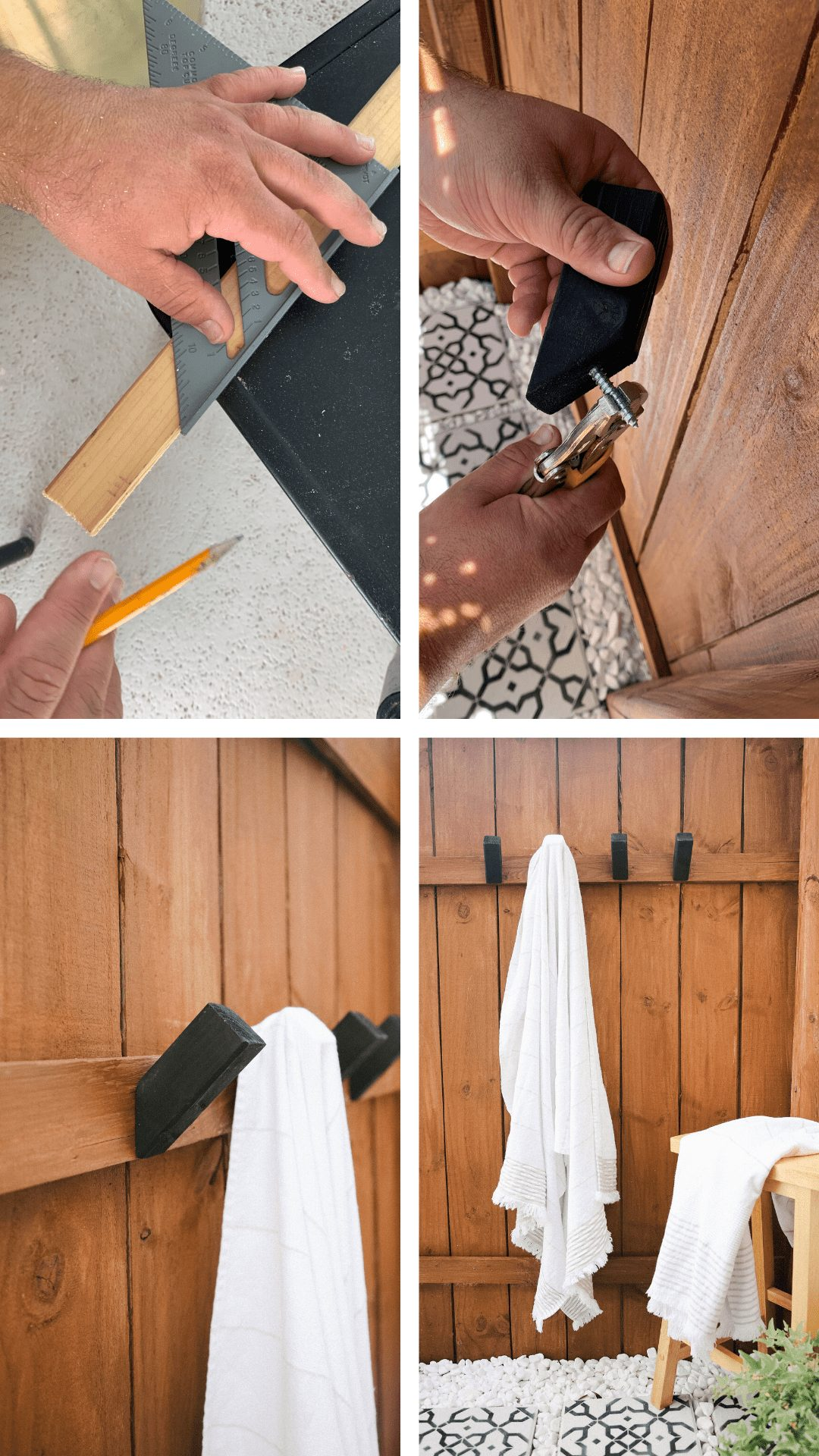 Top US lifestyle blogger Tabitha Blue shares How to Make Modern DIY Wooden Hooks for $1 Each! See the sleek wood hook design in her outdoor shower. | Wooden Hooks by popular Florida lifestyle blog, Fresh Mommy Blog: image of a white towel hanging on a wood hook that's mounted in a outdoor shower