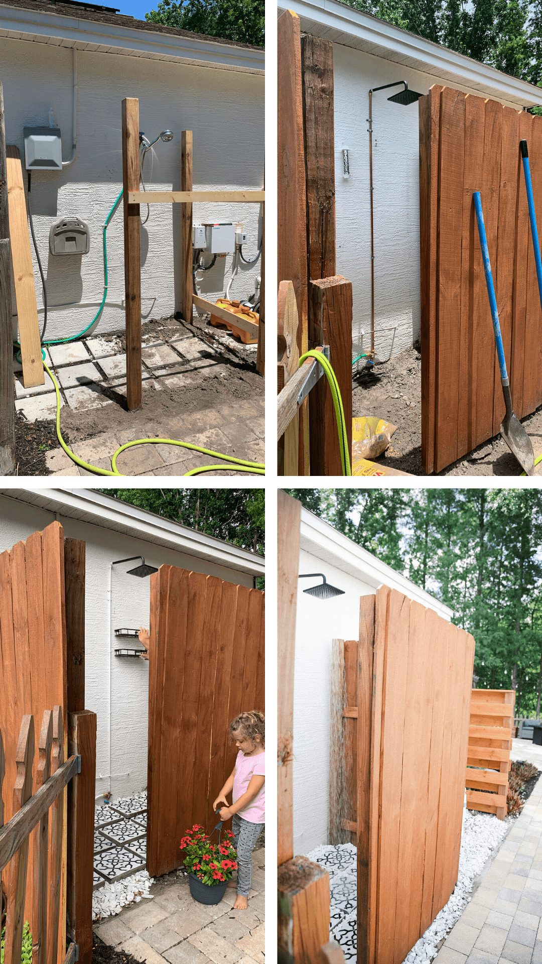 DIY Outdoor Shower Ideas on a Budget for the Ultimate Backyard Oasis | DIY Outdoor Shower by popular Florida DIY blog, Fresh Mommy Blog: before and after image of a DIY outdoor shower.