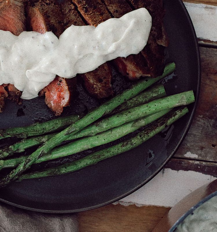Pan-Seared Ribeye Steak with Gorgonzola Cream Sauce