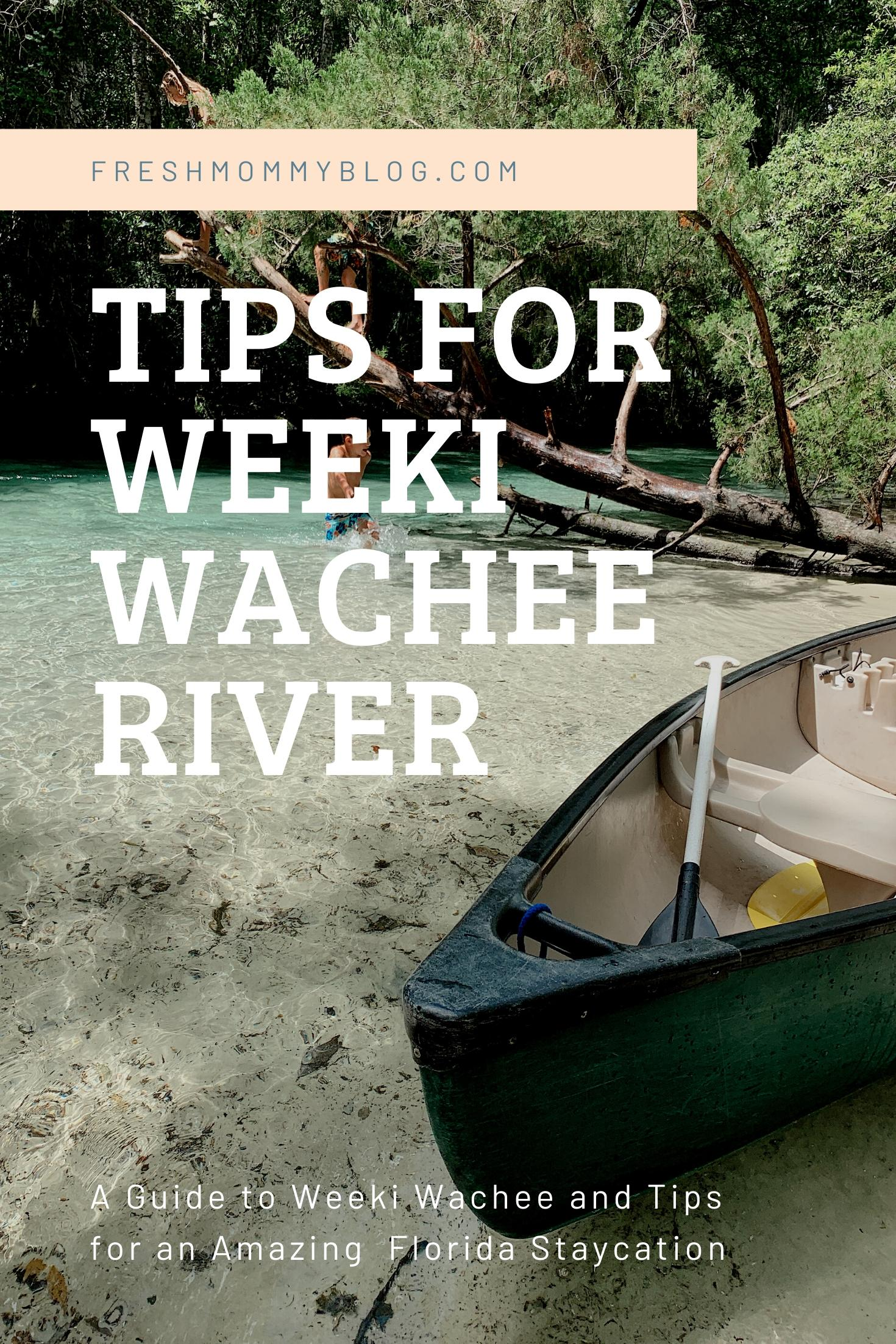 Tips for an Amazing Weeki Wachee Kayaking Florida Staycation. Visit Florida Travel ideas from top lifestyle blogger Tabitha Blue of Fresh Mommy Blog. | Weeki Wachee Kayaking by popular Florida blog, Fresh Mommy Blog: Pinterest image of Weeki Wachee river tips.
