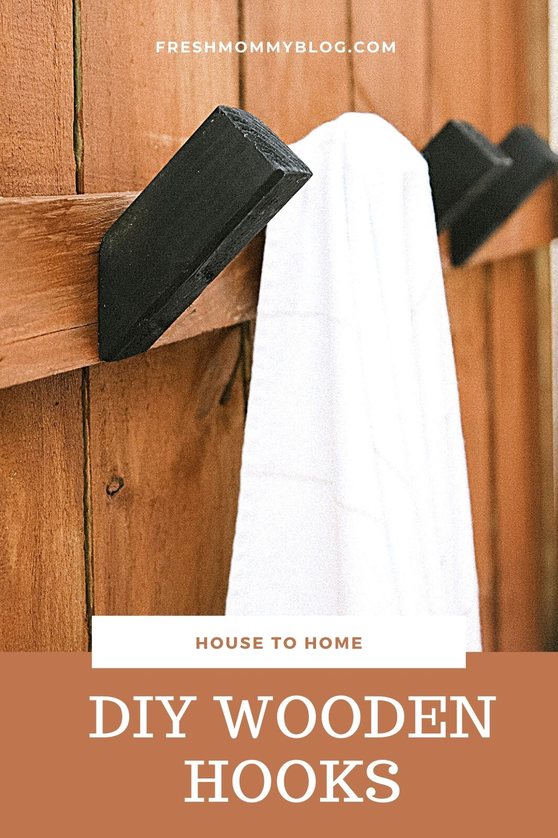 Top US lifestyle blogger Tabitha Blue shares How to Make Modern DIY Wooden Hooks for $1 Each! See the sleek wood hook design in her outdoor shower. | Wooden Hooks by popular Florida lifestyle blog, Fresh Mommy Blog: image of a white towel hanging on a wood hook that's mounted in a outdoor shower.