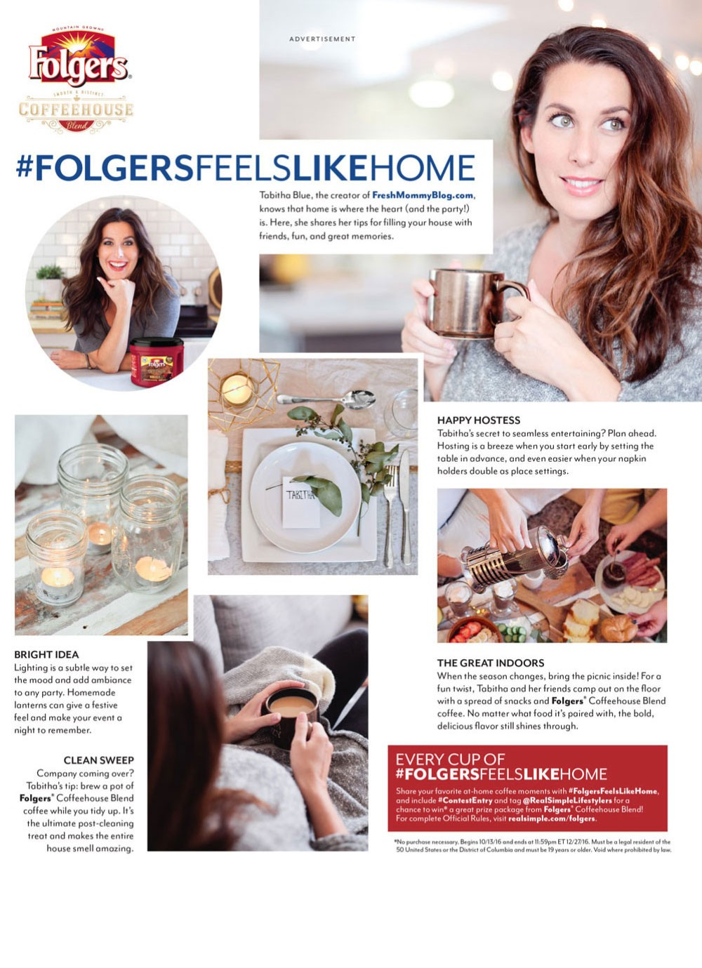 Folgers X Tabitha Blue on Entertaining for Real Simple AND Southern Living Magazine