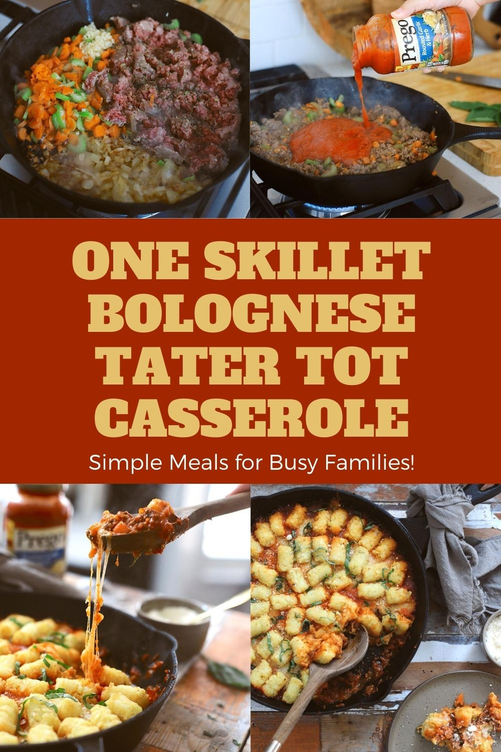 This simple one skillet Bolognese Tater Tot Casserole made with Prego® is a delicious family dinner that you can make perfect any time of year with pantry staples. Think of a cross between a classic bolognese pasta and that quintessential midwest style tater tot casserole. With a cast-iron skillet, this meal boasts slowly caramelized onions in white wine, the secret vegetables of a classic bolognese, and ground beef…all cooked together in one skillet, topped with plenty of cheese, tater tots, and herbs. Simply cook the skillet in the oven to create the perfect crispy tots and cheesy, one skillet dinner! | Tater Tot Casserole by popular Florida lifestyle blog, Fresh Mommy Blog: Pinterest image of a one skillet bolognese tater tot casserole in a skillet.