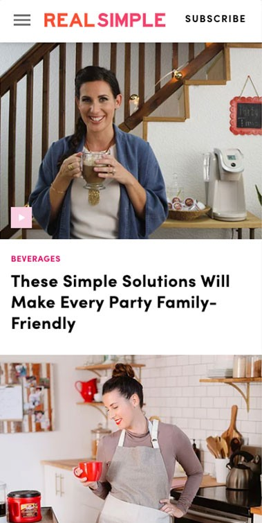 Real Simple Folgers web articles feature