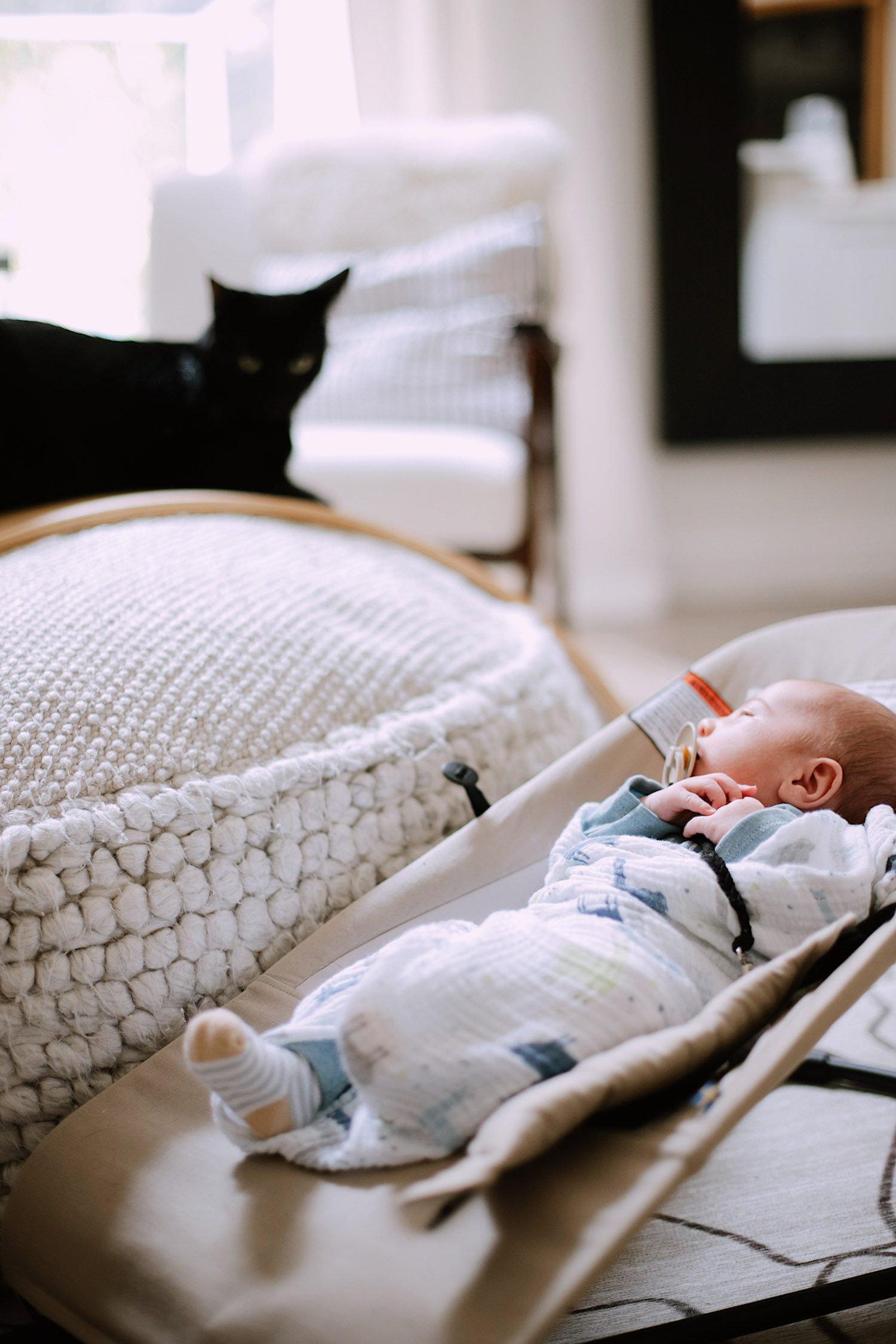 What You Don't Know About Cats and Newborns Living Together | Cats and Newborns by popular Florida motherhood blog, Fresh Mommy Blog:  image of a black cat resting on a ottoman that's next to a newborn baby sleeping in a bouncer.