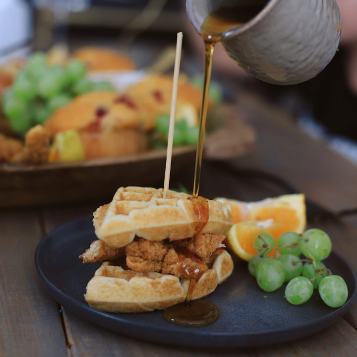 Easy Waffle Recipe for an Amazing Breakfast for Dinner Family Night - Chicken and Waffles Breakfast Board