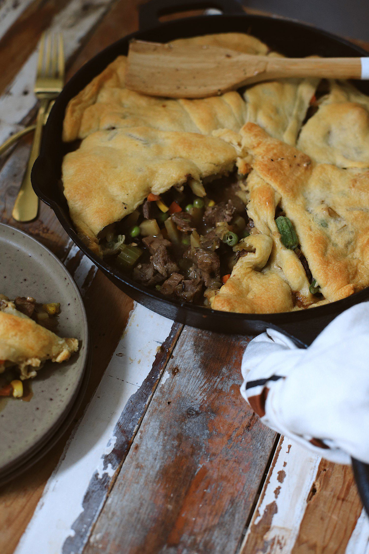 This easy and delicious Steak Pot Pie is made with a flaky and buttery crescent roll crust. The homemade Omaha Steak Pot Pie filling is perfectly seasoned, but you could EASILY switch up the meat with leftover chicken or turkey. Don't miss out on the ultimate comfort food that's easy to make in one skillet!