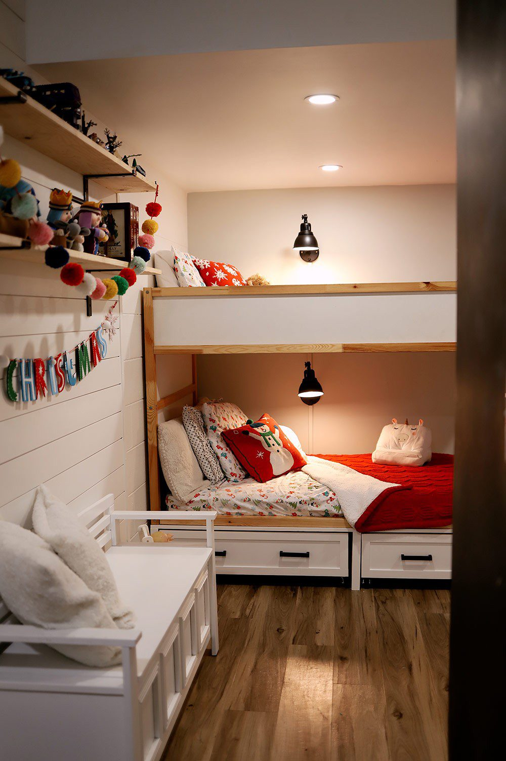 Easy feature wall update for a gender neutral kids room, bunk bed hack and kid's room Christmas decor by Tabitha Blue of Fresh Mommy Blog
