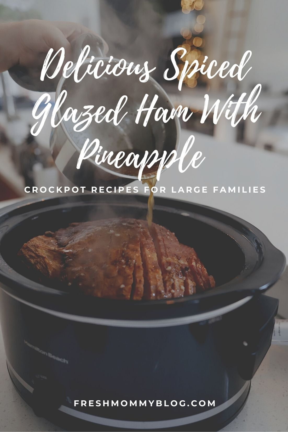 Delicious Spiced Glazed Ham With Pineapple in the Slow Cooker. Holiday Family Crockpot Meals. Christmas dinner idea