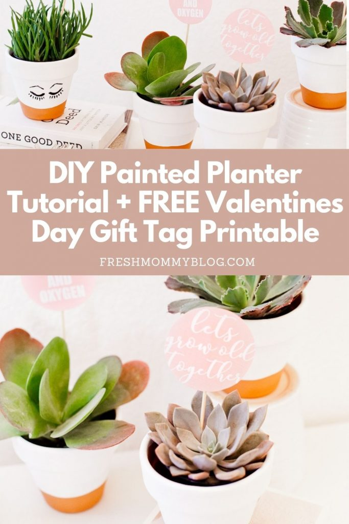 DIY Painted Planter Tutorial + FREE Valentines Day Gift Tag Printable
