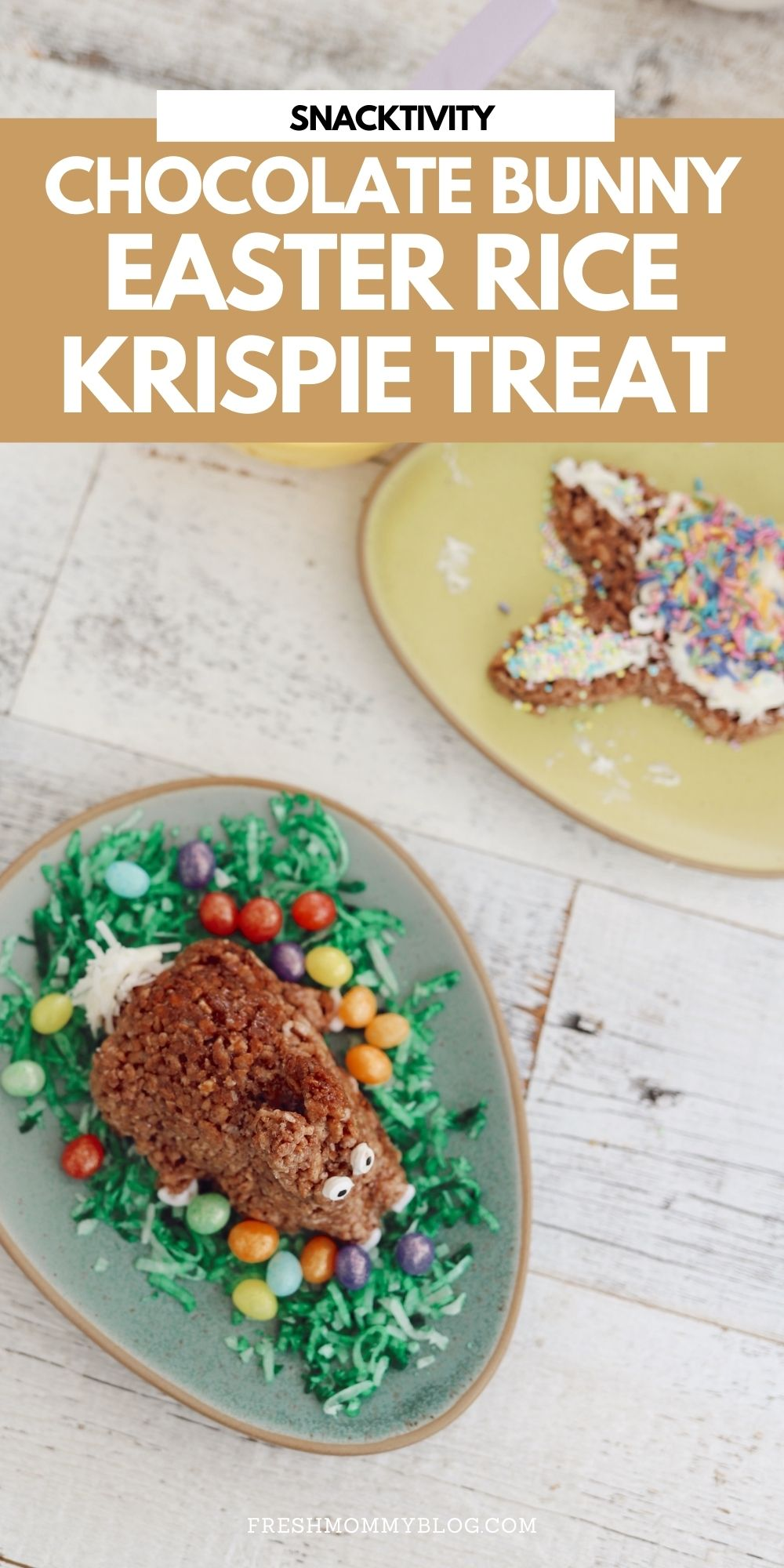 Simple Chocolate Easter Bunny Rice Krispies treats from top lifestyle blogger Tabitha Blue of Fresh Mommy Blog | Chocolate Rice Krispies Treats by popular Florida lifestyle blog, Fresh Mommy Blog: Pinterest image of Easter Bunny shaped chocolate Rice Krispies treats.