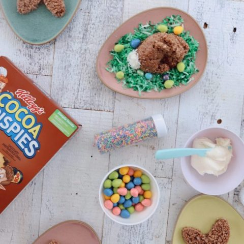 Simple Chocolate Easter Bunny Rice Krispies treats from top lifestyle blogger Tabitha Blue of Fresh Mommy Blog