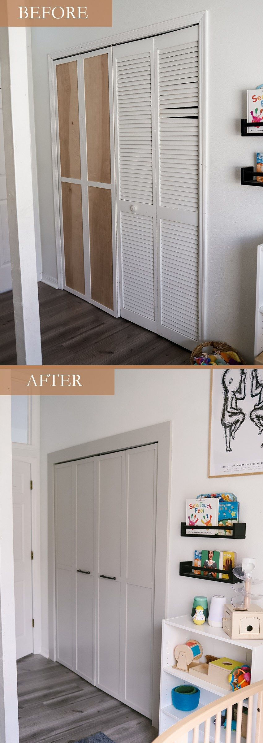 Home Refresh Ideas: DIY Closet Door Upgrade Tutorial. How to update Bi-fold closet doors on a budget. Easy how-to for updating old bifold closet doors and save money (save the hundreds it would cost to replace them!). |DIY Closet Door by popular Florida lifestyle blog, Fresh Mommy Blog: before and after image of a bifold closet door.